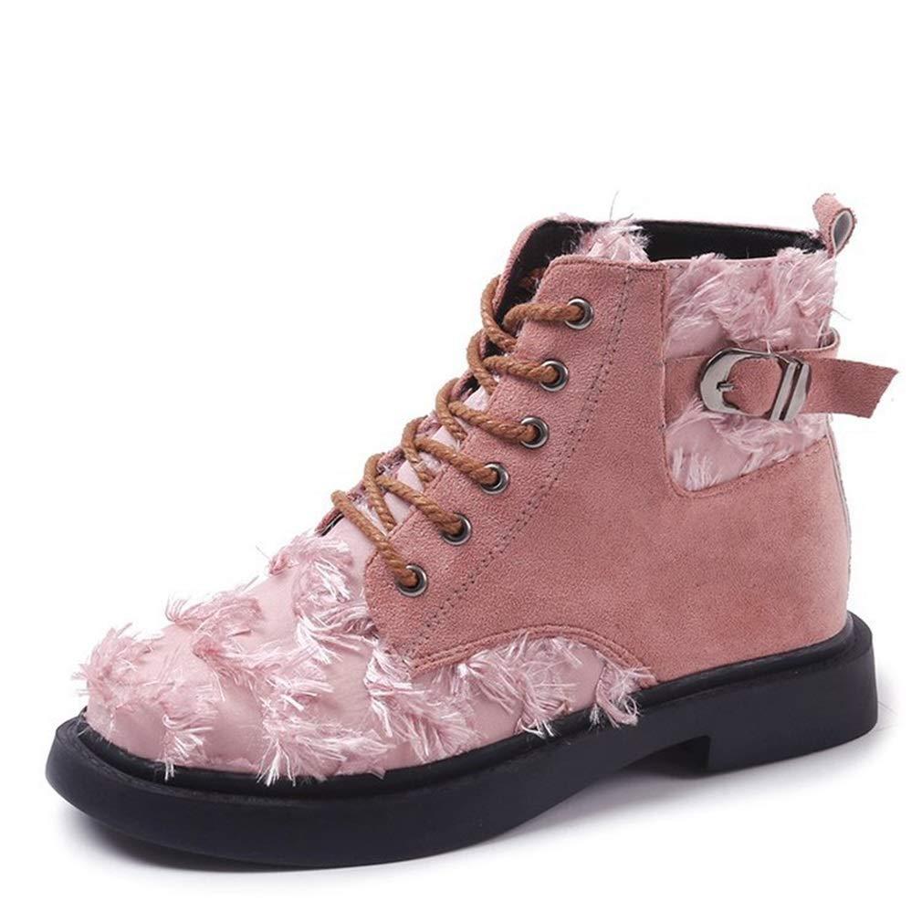 YAN Damenschuhe New Herbst & Winter Martin Stiefel Britische Mode Retro Wildleder Hohe Stiefel Schnürschuhe Flache Stiefelies Outdoor Wanderschuhe