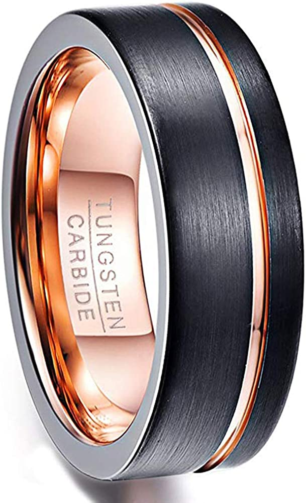 VAKKI Black Brushed Wedding Band for Men 8mm Rose Gold Plated Groove Tungsten Carbide Ring Comfort Fit Size 5-14