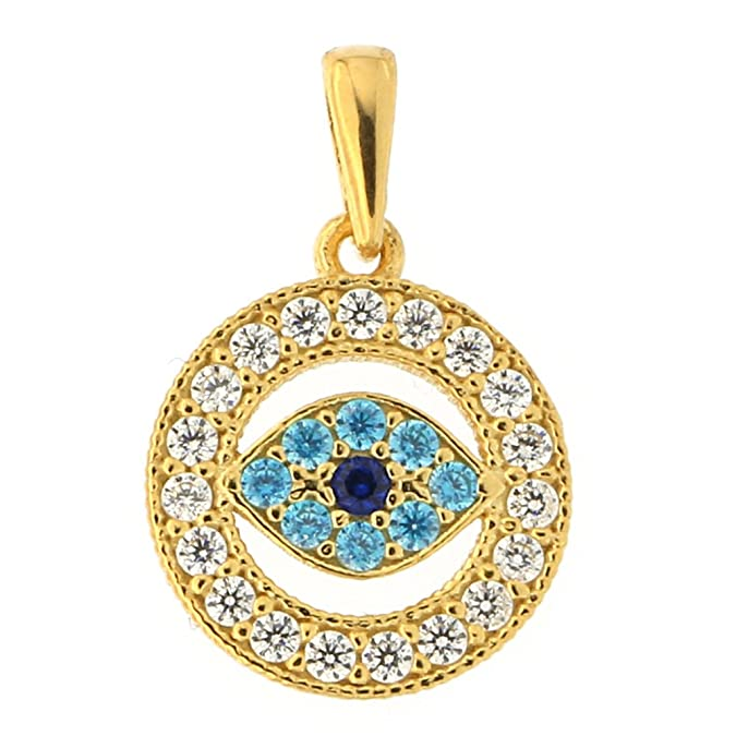 Beauniq 14k Gold Simulated Sapphire Simulated Blue Topaz CZ Evil Eye Pendant