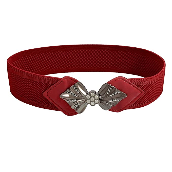 Vintage Wide Belts, Cinch Belts Women Faux Rhinestone Bowtie Buckle Dark Red Elastic Waist Cinch Belt $7.57 AT vintagedancer.com