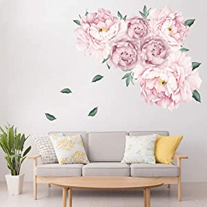 Supzone Flowers Wall Stickers Peony Rose Wall Decor Falling Leaves Peel and Stick Wall Art Stickers Wall Decals for Bedroom Living Room Sofa Backdrop TV Wall Decoration