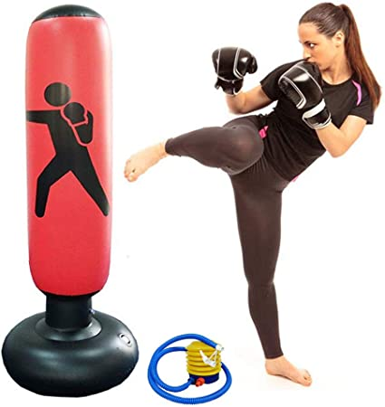 63inch Boxing Punch Bag, Inflatable Punching Bag, Kids Kickboxing Bag, Inflatable Free- Standing Fitness Target Stand Tower Bag, Free Standing ...
