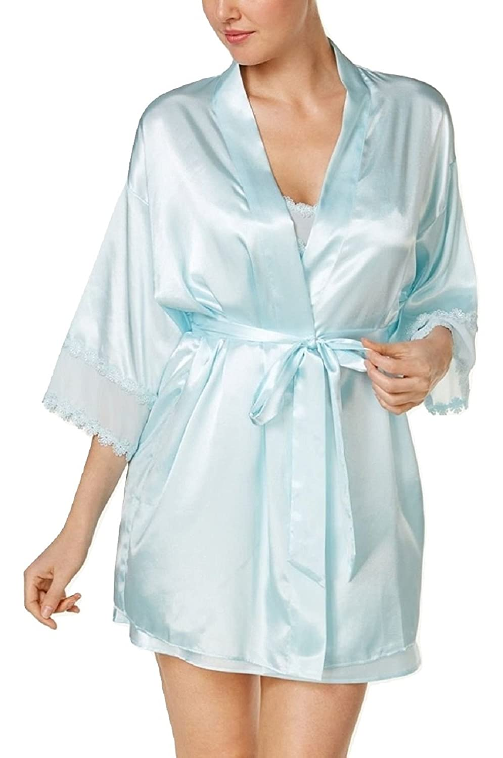 492f91e081 Flora by Nikrooz Vivian Lace-Trimmed Wrap Robe Bridal Blue (S M) at Amazon  Women s Clothing store