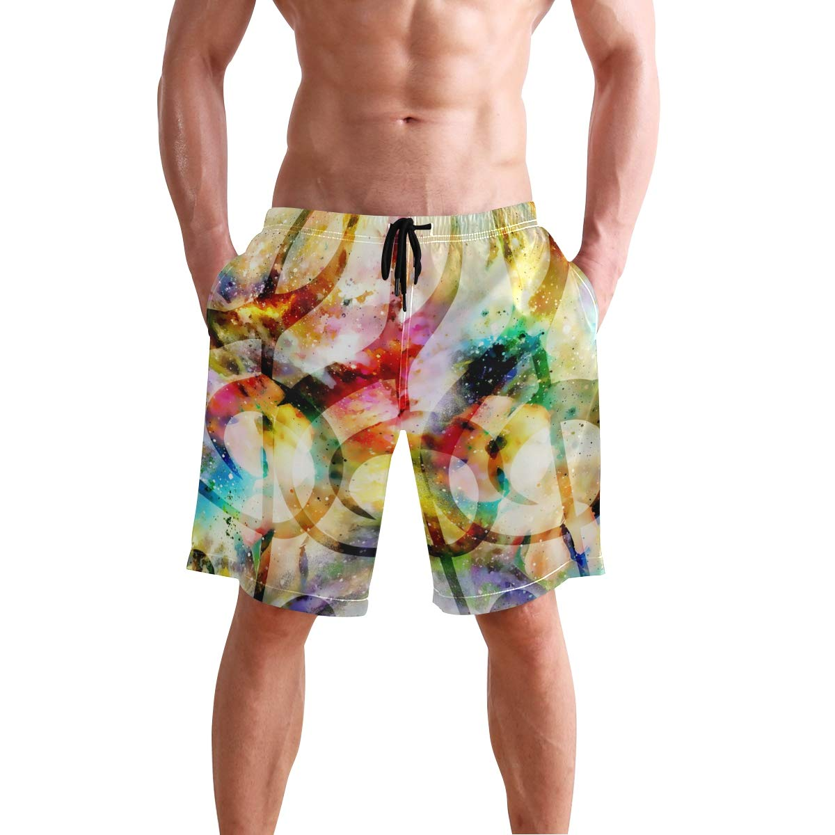 AUUXVA KUWT Mens Swim Trunks Colorful Galaxy Music Note Quick Dry Beach Shorts Summer Surf Board Shorts