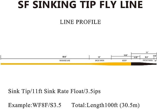 SF Hi-Viz Fly Fishing Sinking Tip Line Weight Forward Taper Floating Fly Line Sinking Line 100 FT IPS5