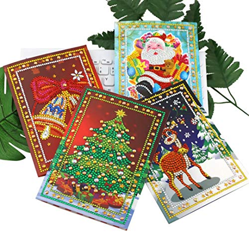 qiaoniuniu Christmas Santa Cards Diamond Painting for Kids 5D Rhinestone Painting by Number Kits Mosaic Making - 4 Packages Arts Crafts Greeting Cards