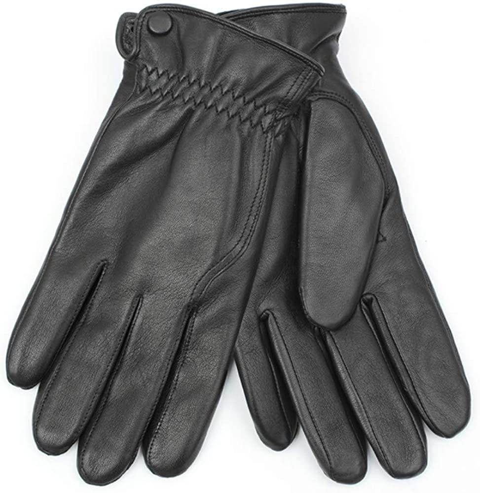 FCG Men Winter Nappa Leather Driving Glove Wool Blended Lined