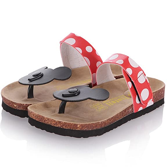 TAOFFEN Damen Disney Mickey Mouse Dote Flip Flops Gemutlich Flach Sandalen (39 Asia, Red)