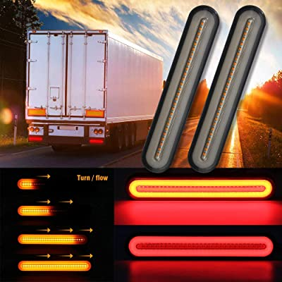 Truck Trailer Tail Light Bar 9 Inch Sequential Flowing Turn Signal Brake Rear Waterproof Newest 2ND 2PC Pack Trailer Lights for RV Truck Boat Turn Brake Steering (Red/Amber Truck Trailer OPL-DG3IN1): Automotive