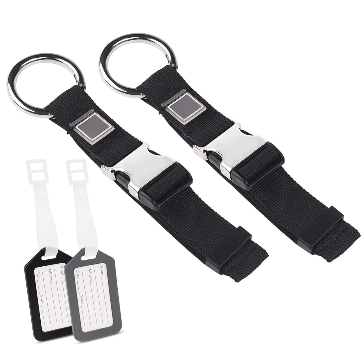 Add A Bag Luggage Straps Jacket Gripper, Yloves Baggage Suitcase Strap Belt with Luggage Tags Bag Labels Travel Accessories
