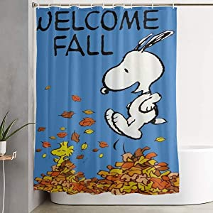 Pooizsdzzz Welcome Fall Snoopy Shower Curtain Decor for Men Women Boys Girls 60x72 in
