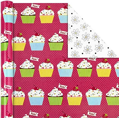 Hallmark All Occasion Reversible Wrapping Paper Bundle - Happy Birthday (3 Rolls - 75 sq. toes. ttl) Cupcakes, Stripes, Flowers, Polka Dots