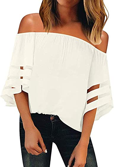 Camisetas Mujer Verano Moda Camiseta Suelta de Manga Corta para Mujeres Camisas Camiseta de un Hombro Moda Sexy Casual Blusa Opa de Playa Elástico Tops riou: Amazon.es: Ropa y accesorios