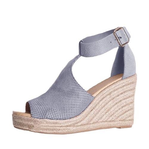 fb18b371ccc722 Minetom Femme Mode Sandale Sandals Peep Toe Talon Compensé Casual Été  Confortable Chaussure Sandals Boucle Talons