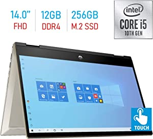 HP Pavilion x360 14-inch FHD Touchscreen 2- in-1 Laptop/Tablet PC, Intel Core i5-1035G1 up to 3.6GHz, 12GB DDR4, 256GB PCIe SSD Bluetooth, Fingerprint Reader, B&O Play, Windows 10 /Mazery Mousepad