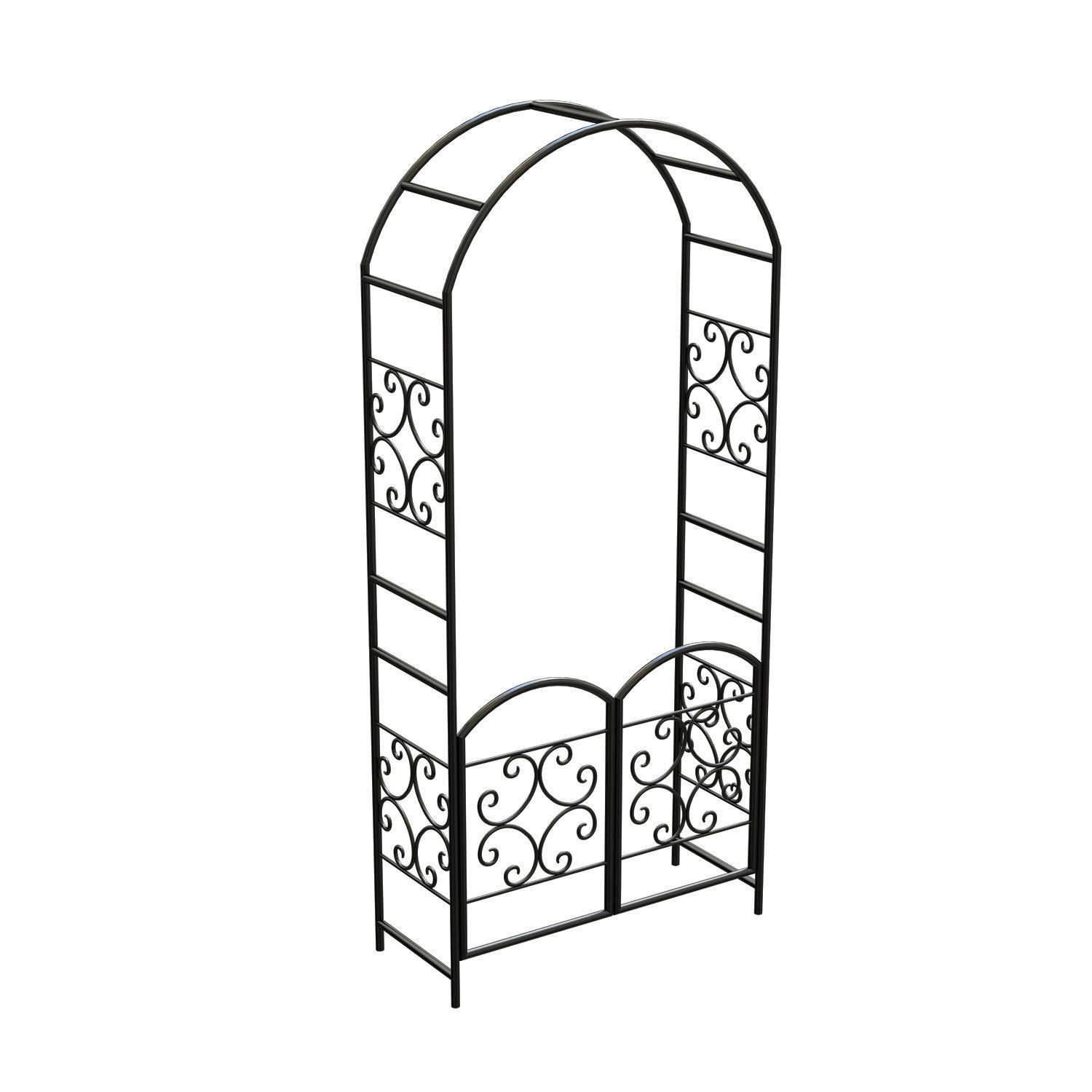 Panacea Scroll Arbor with Gate, 90'', Black