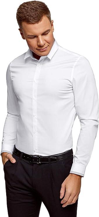 oodji Ultra Hombre Camisa Entallada con Acabado en Contraste ...
