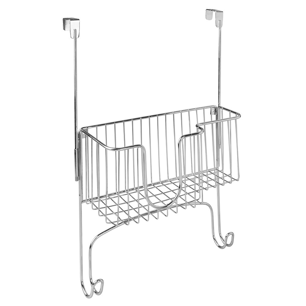 Inter Design Ironing Board Holder with Storage Basket for Clothing Iron - Over Door/Wall-Mount, Chrome