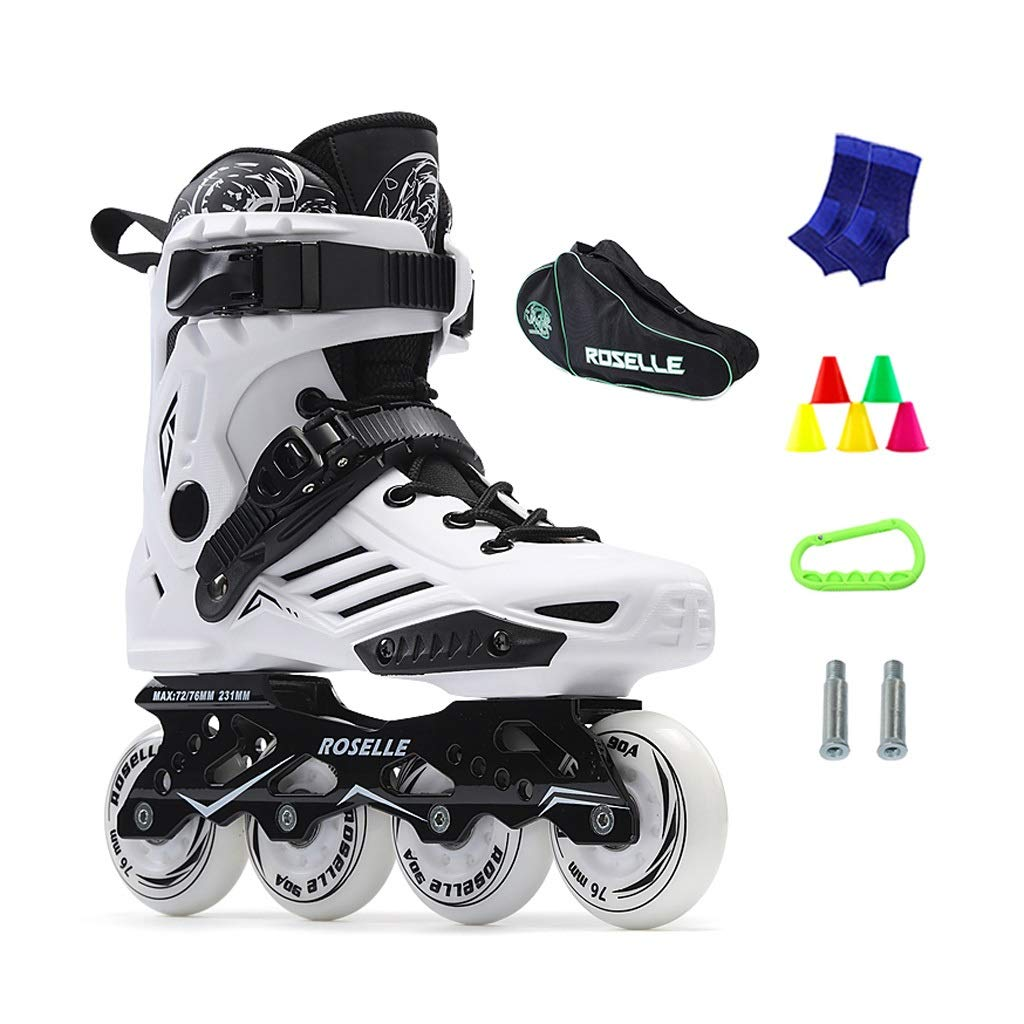 JIANXIN Inline Skates, Adult Light Up The Wheel Suitable for Women, Youth, Beginner Skating, White Black (Color : B, Size : EU 42)