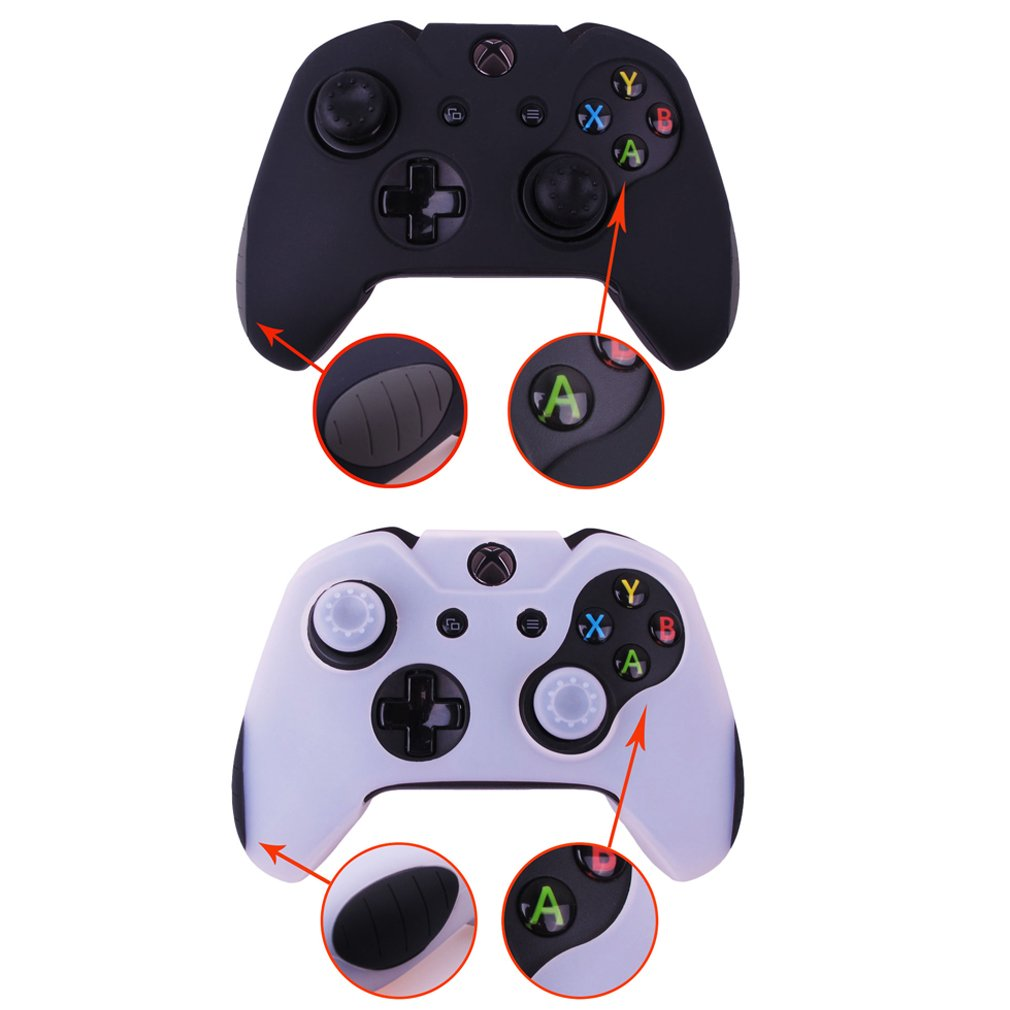Pandaren Soft Silicone Thicker Skin Cover for Xbox One Controller Set (skin X 2 + Thumb Grip X 4)(Black,White)