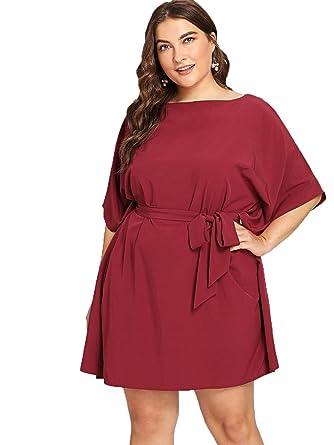 f086326a633e Floerns Women s Plus Size Summer Short Sleeve Tie Waist Dress Burgundy 1XL