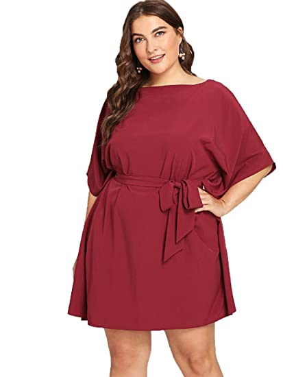 bdab4d4ba26 Floerns Women s Plus Size Summer Short Sleeve Tie Waist Dress Burgundy 1XL