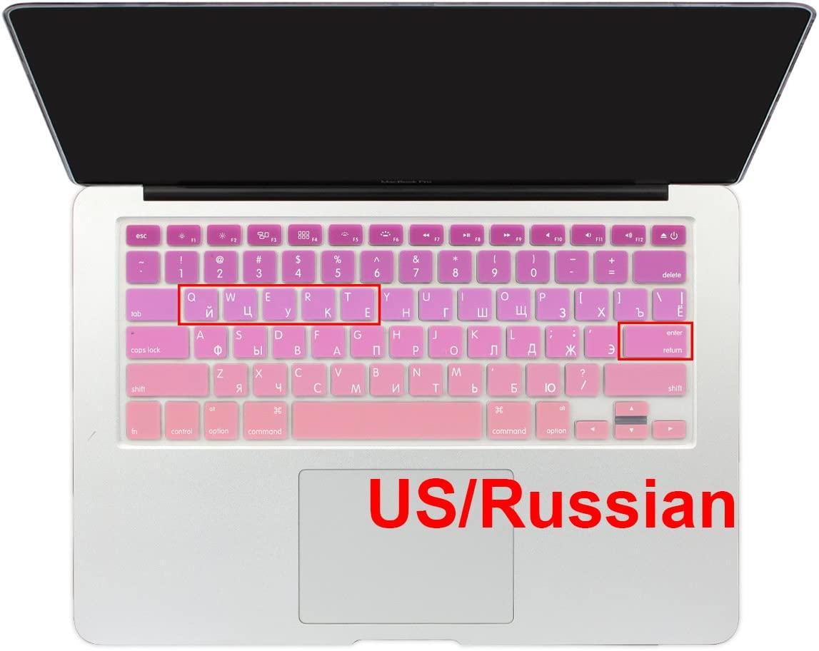 Batianda Russian Alphabet Ombre Color Keyboard Cover Protector Waterproof Silicone Skin for Apple MacBook Air 13 Mac Pro 13 15 17 inch (with or Without Retina Display Old Version) (Gradient Pink)