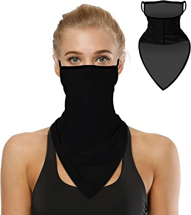 Tube Scarf with Filter Face Cover Bandana Neck Gaiter Ear Loops Balaclava Gift