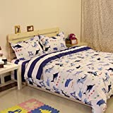 Norson Navy Blue Striped Bedding Sets, Bedding Shark, Underwater World of Bedding, Kids Duvet Cover Set Cotton Bedding Set Twin Full Size