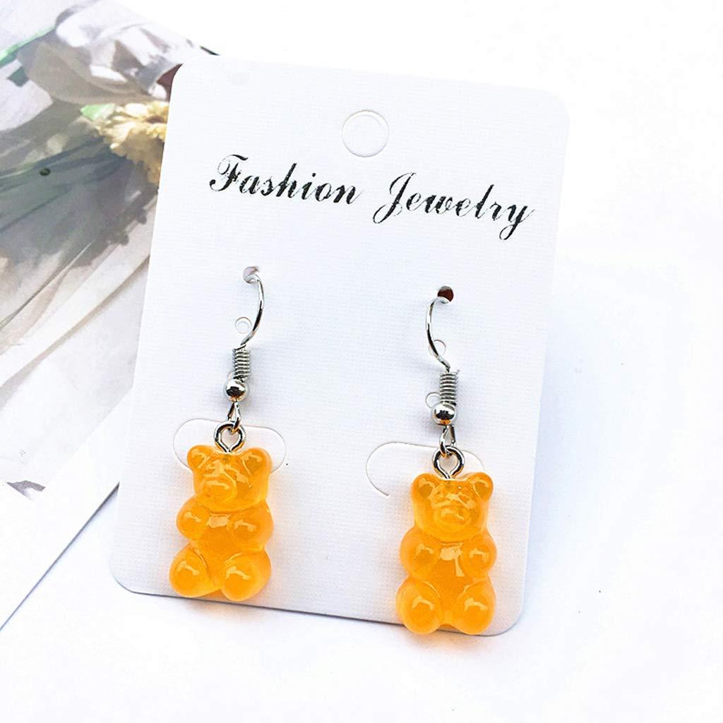 Senoow Fashion Creative Cute Mini Gummy Bear Earrings Minimalism Cartoon Design Female Ear Hooks Danglers Jewelry Gift