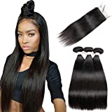Beauhair Brazilian Straight Hair 3 Bundles with Lace Closure (8 8 8+10 Free Part closure) Virgin Human Hair Weave 100% Unproc