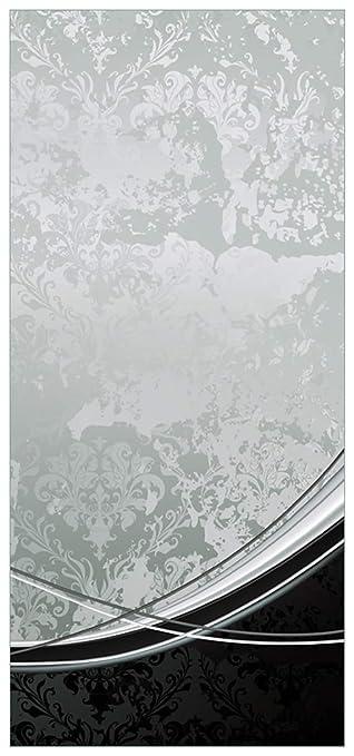 Wallario Selbstklebende Türtapete Grau Schwarze Schnörkelei   93 X 205 Cm  In Premium Qualität