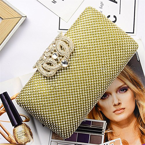 For Bag Purse Women's Party Clutch Stylish Gold Nightclub Wedding Inclined Clubs Shoulder Drill T8aRY8