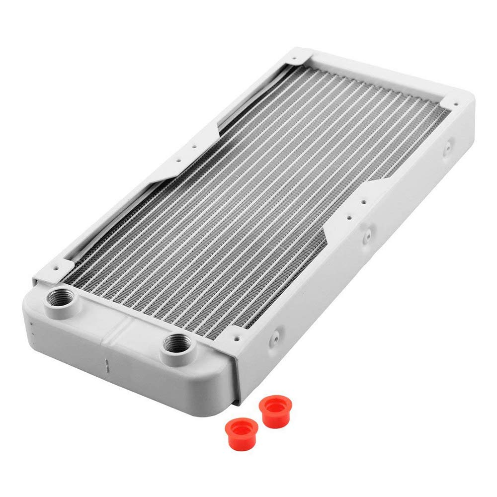 tatoko Aluminum Computer CPU 18 Pipes Water Cooling Heat Exchanger Radiator 10.6 Inch Long White