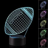 AZALCO 3D Illusion American Football Rugby Night Light Lamp with 7 Color change, touch base, power by AA batteries