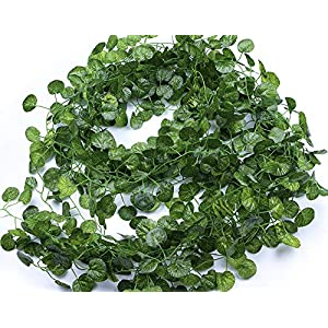 MaxFlowery 86 Ft Artificial Heart Shape Birch Ivy Vines, Wholesale Faux Hanging Vine Plants Leaf Greenery Garlands, Wedding, Home, Holiday Decoration 115