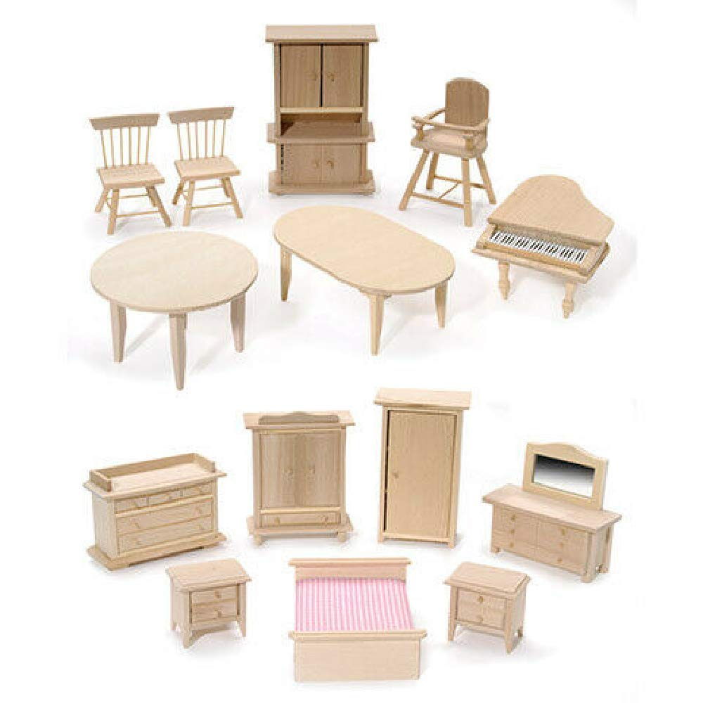 Dollhouse Wood Furniture Set, Unfinished Miniature Pine Wood Furniture Set