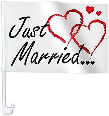 20 Stk Alsino Autoflagge Afl 10c Autofahne Für Die Hochzeit Just Married Auto Flagge Fahne Auto