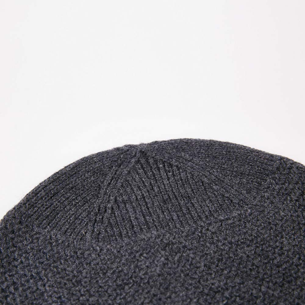 Warm Thick Knit Hat Windproof Winter Knit Hat Knit Beanie Slouchy Beanie Hat for Men Pure Wool Pullover Mens Hat
