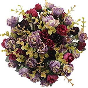 Duovlo 7 Branch 21 Heads Artificial Flowers Bouquet Mini Rose Wedding Home Office Decor,Pack of 4 (Purple) 46