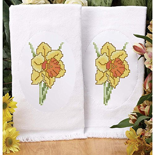 Herrschners® Daffodils First Bloom Terry Towel Pair Stamped Cross-Stitch