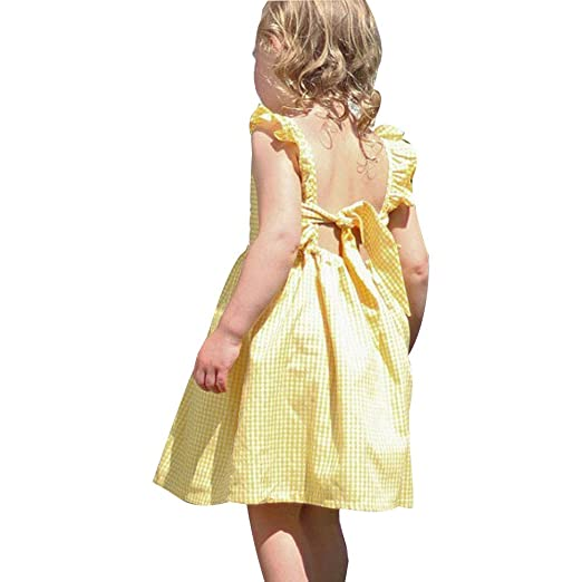 61586b38e3c4 Amazon.com  TiTCool Kids Girl Dress Yellow Gingham Ruffle Sleeveless ...