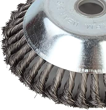 cepillo redondo de 7,48 x 7,48 x 2,17 pulgadas cepillos met/álicos giratorios alambre de torsi/ón Manyo desherbador de c/ésped Cabezal para desherbado alambre de acero
