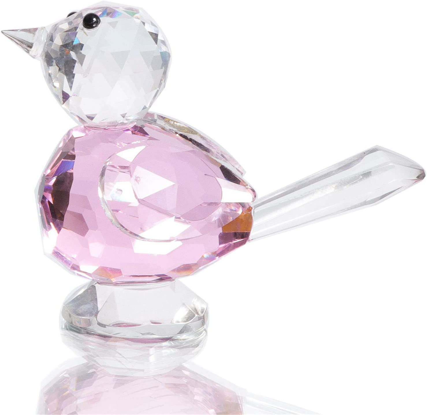 Waltz&F Crystal Pink Bird Collectible Figurine Home Office Table Decoration