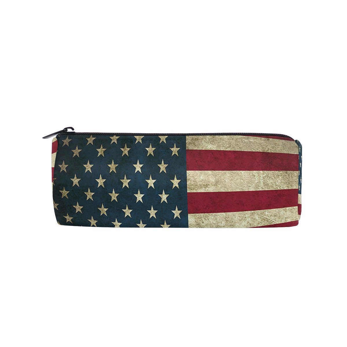 ALAZA American Flag Zipper Pencil Case Roll Pen Makeup Bag Holder Box Pouch for Students School Supplies