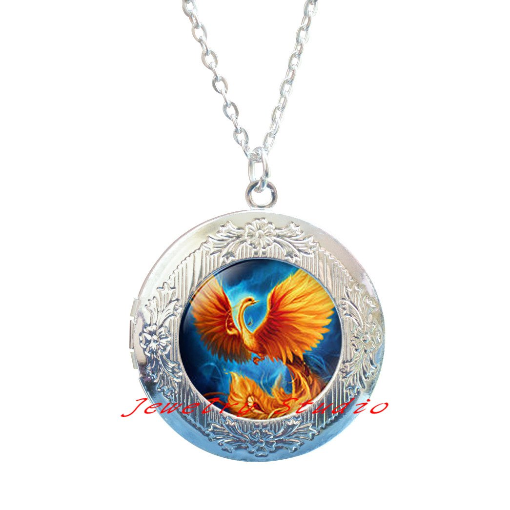 Phoenix fire and water Locket Necklace Phoenix Locket Pendant Fire and Water Locket Necklace red and blue Phoenix Locket Necklace Phoenix Jewelry-HZ00276