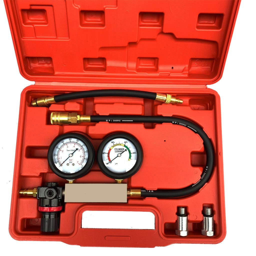 RTYou Cylinder Dual Leak-Down Tester Professional Tester Test Kit Cylinder Compression Gas Engine Set Automotive Tool Gauge for Car & Truck