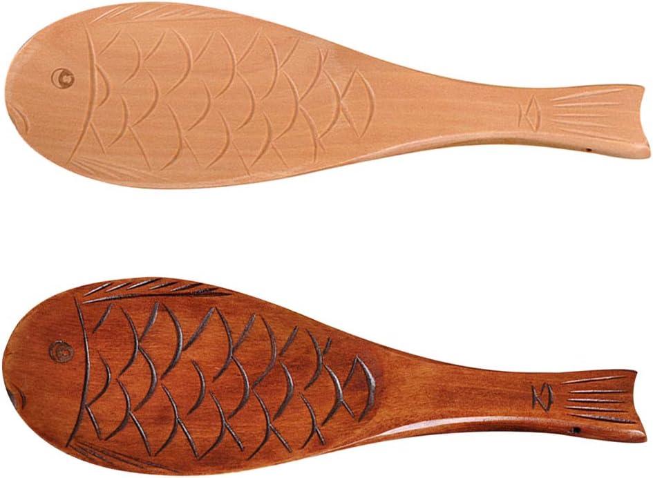 Fish Shape Wooden Ladle Handheld Rice Ladle Nanmu Meal Rice Spoon Brown