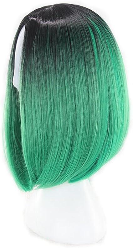 Peluca de 14 pulgadas recta para mujer, color verde oliva ...
