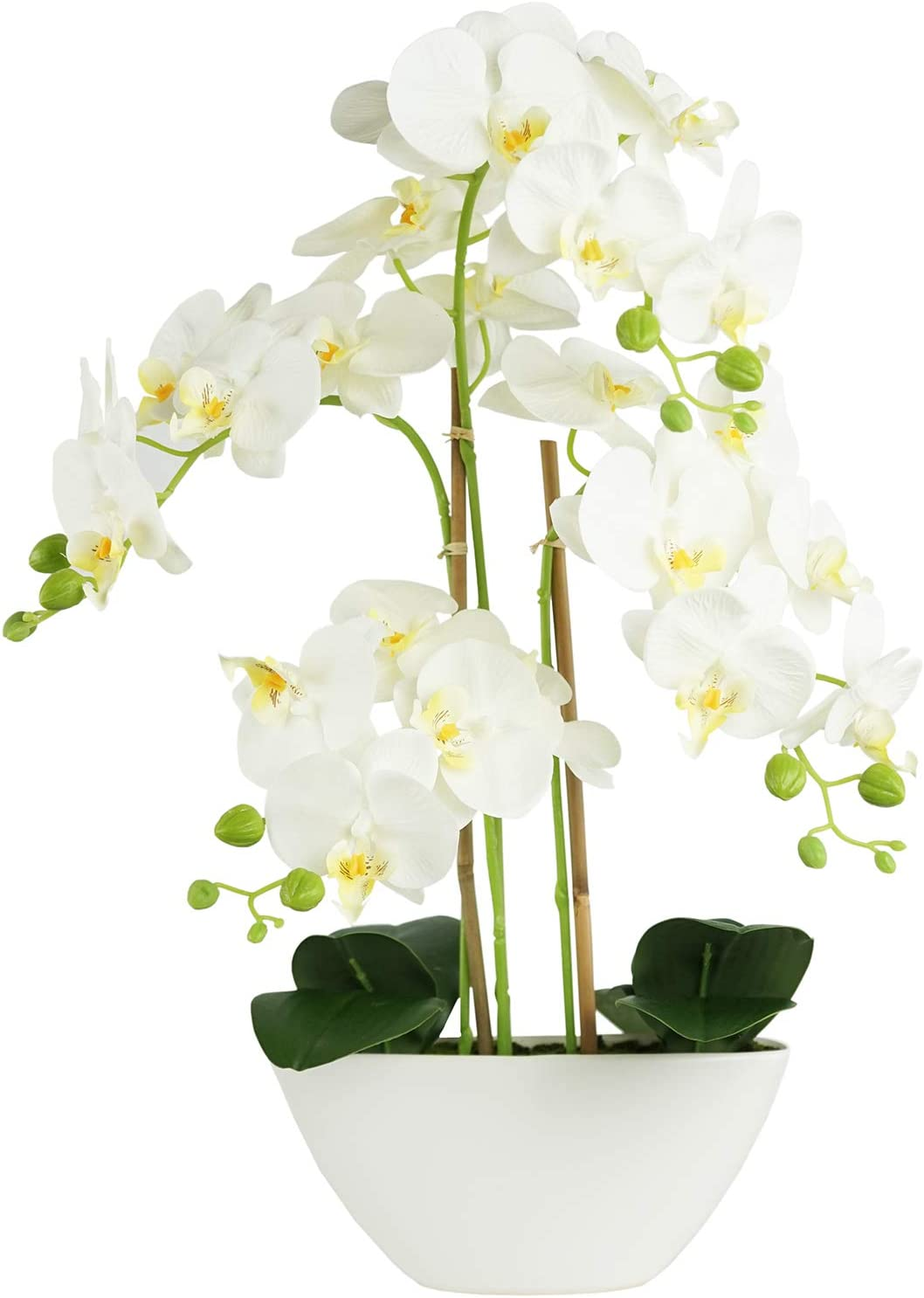 Artificial Flowers Fake Orchids in Ceramic Vase Phalaenopsis White Flowers, Artificial Plants Faux Flowers Orchids for Decoration Home Office Party Table Decor